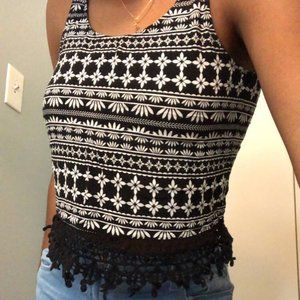 Crop tank top with embroidered trim